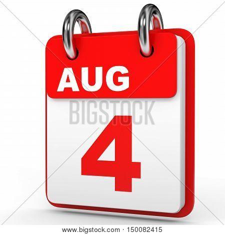 August 4. Calendar On White Background.