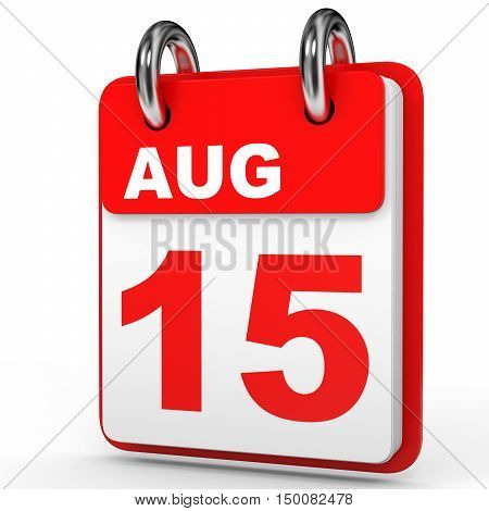 August 15. Calendar On White Background.