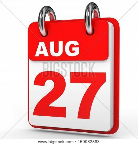 August 27. Calendar On White Background.