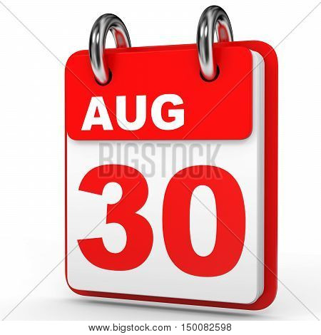 August 30. Calendar On White Background.