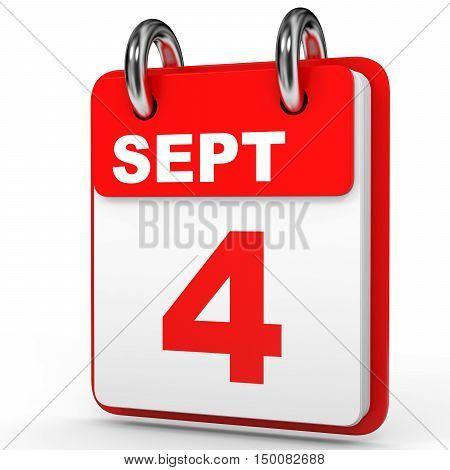 September 4. Calendar On White Background.