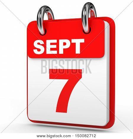September 7. Calendar On White Background.