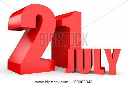 July 21. Text On White Background.