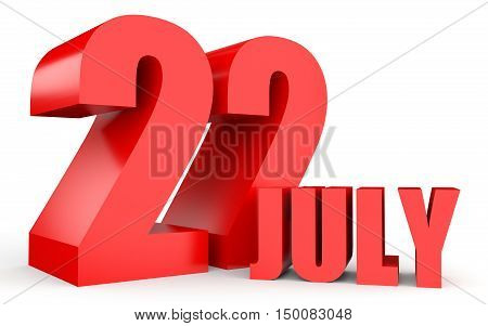 July 22. Text On White Background.