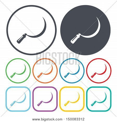 sickle  icon on white background for web