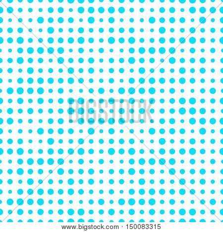 Blue and white seamless pattern with grunge halftone dots. Dotted texture. Halftone dots background. Polka dot infinity. Abstract geometrical pattern of round shape.Screen print. Vector illustration.