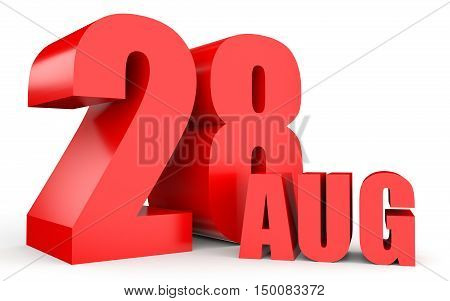 August 28. Text On White Background.