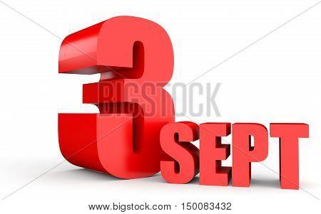 September 3. Text On White Background.