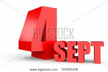 September 4. Text On White Background.