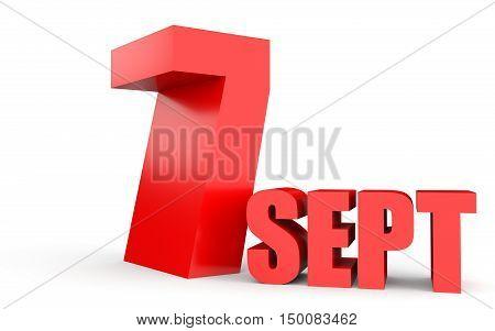 September 7. Text On White Background.