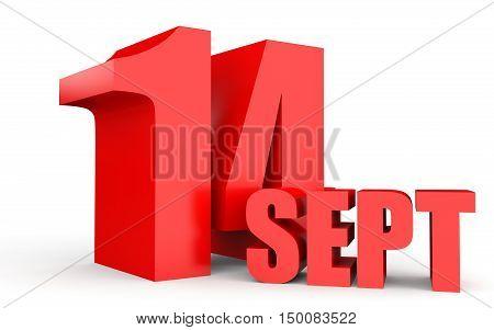 September 14. Text On White Background.