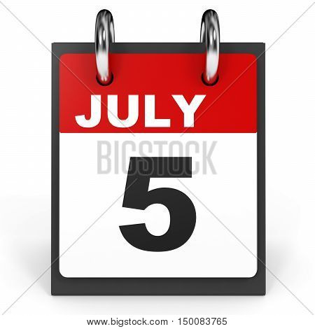 July 5. Calendar On White Background.