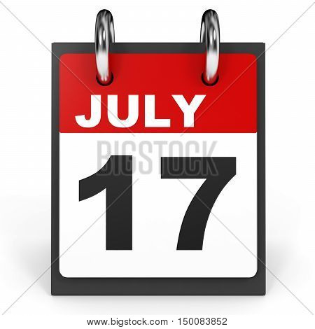 July 17. Calendar On White Background.