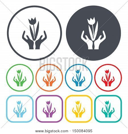 hands icon on white background for web