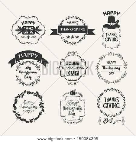 Happy Thanksgiving Day logo template. Set typographic Thanksgiving design. Holiday Designs  Vintage