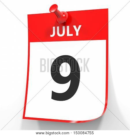 July 9. Calendar On White Background.