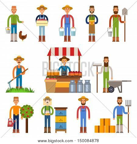 Farmers and gardeners flat agriculture icons set isolated vector.
