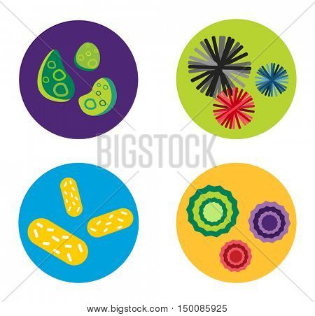 Bacteria virus vector icon