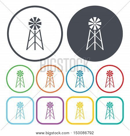 windmill icon on white background for web
