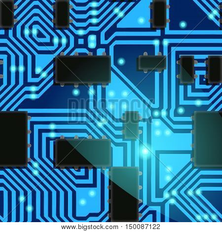 Technology background - computer-generated image. Abstract vector pattern with lines, rectangles and lighting dots. Retro style printed circuit board with paths, light-emitting diodes and chips. Tech backdrop for covers, web design, banners