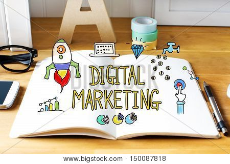 Digital Marketing Concept With Notebook