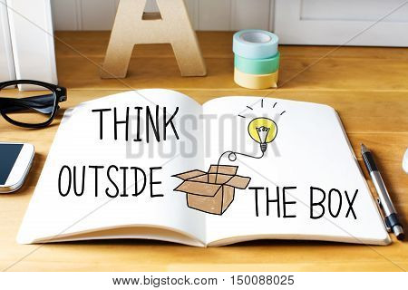 Think Outside The Box Concept With Notebook