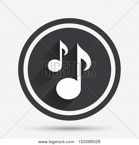 Music notes sign icon. Musical symbol. Circle flat button with shadow and border. Vector