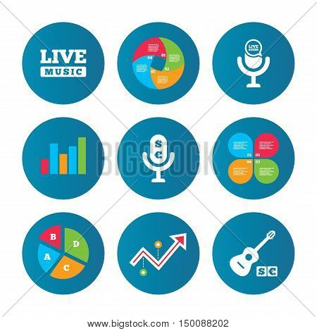 Business pie chart. Growth curve. Presentation buttons. Musical elements icons. Microphone and Live music symbols. Paid music and acoustic guitar signs. Data analysis. Vector