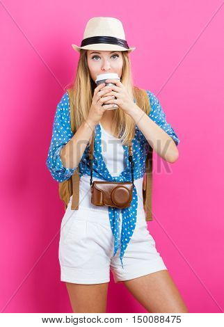Happy Traveling Woman With Coffee
