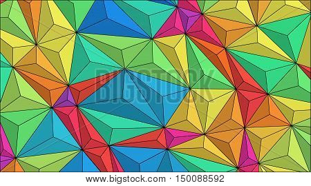 Low poly art - fractal pattern. Simple vector background: colorful shapes of triangles, looking bulky. For prints, covers, banners