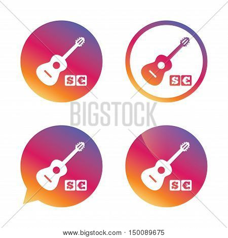 Acoustic guitar sign icon. Paid music symbol. Gradient buttons with flat icon. Speech bubble sign. Vector