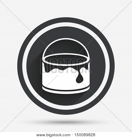 Bucket of paint icon. Painting works sign. Painter equipment. Circle flat button with shadow and border. Vector
