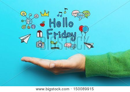 Hello Friday Concept With Hand