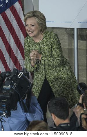 19 September 2016 - Philadelphia USA - Secretary of State Hillary Clinton campaigns rally at Temple University Philadelphia.