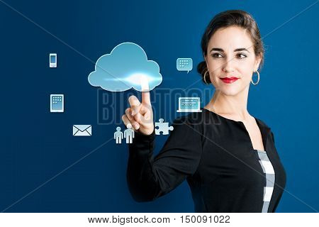 Cloud Computing Concept With Business Woman