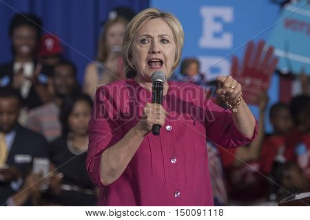 16 August 2016 - PhiladelphiaUSA - Hillary Clinton Democratic Presidential Candidate holds voter registration in Philadelphia.