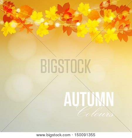 Autumn fall card banner. Garden party decoration. String of polygonal oak maple leaves lights. Modern vector blurred illustration background.