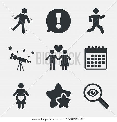 Women pregnancy icon. Human running symbol. Man love Woman or Lovers sign. Attention, investigate and stars icons. Telescope and calendar signs. Vector