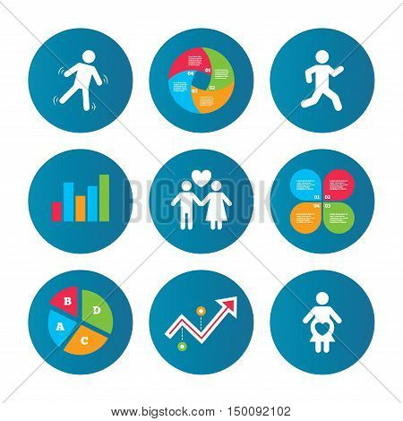 Business pie chart. Growth curve. Presentation buttons. Women pregnancy icon. Human running symbol. Man love Woman or Lovers sign. Data analysis. Vector