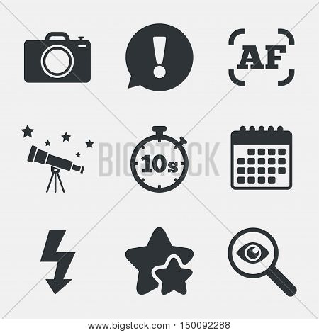 Photo camera icon. Flash light and autofocus AF symbols. Stopwatch timer 10 seconds sign. Attention, investigate and stars icons. Telescope and calendar signs. Vector