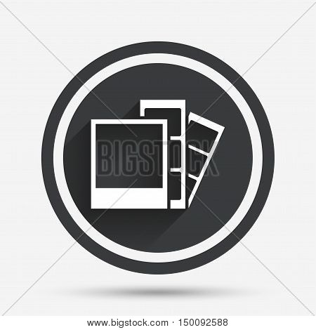 Photo frame template sign icon. Photo booth strips symbol. Circle flat button with shadow and border. Vector