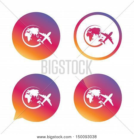 Airplane sign icon. Travel trip round the world symbol. Gradient buttons with flat icon. Speech bubble sign. Vector