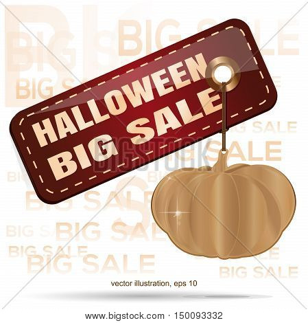 Gold pumpkin. Tag - Halloween big sale. Vector illustration