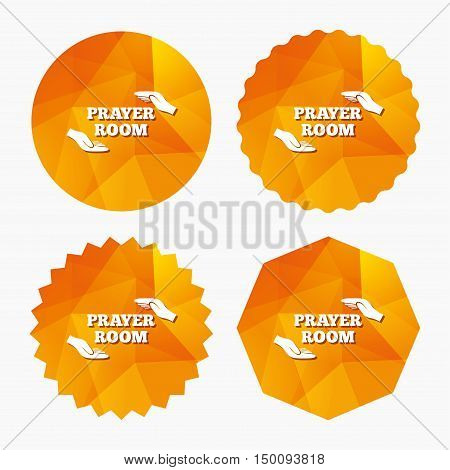 Prayer room sign icon. Religion priest faith symbol. Pray with hands. Triangular low poly buttons with flat icon. Vector