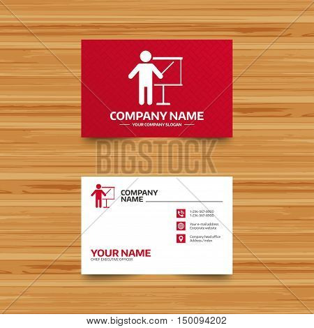 Business card template. Presentation sign icon. Man standing with pointer. Blank empty billboard symbol. Phone, globe and pointer icons. Visiting card design. Vector