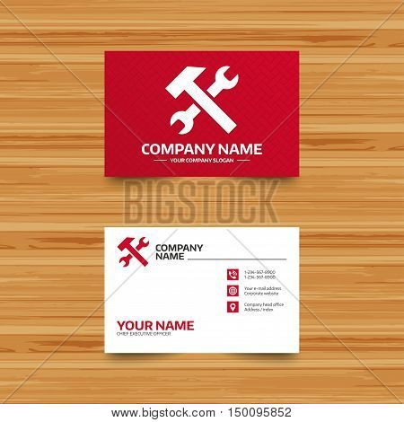 Business card template. Repair tool sign icon. Service symbol. Hammer with wrench. Phone, globe and pointer icons. Visiting card design. Vector