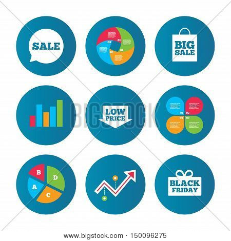 Business pie chart. Growth curve. Presentation buttons. Sale speech bubble icon. Black friday gift box symbol. Big sale shopping bag. Low price arrow sign. Data analysis. Vector