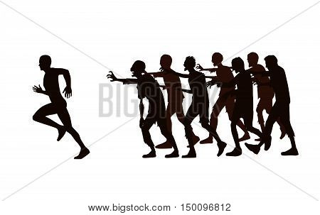 Silhouette vector runner run away from zombie group isolated on white background.