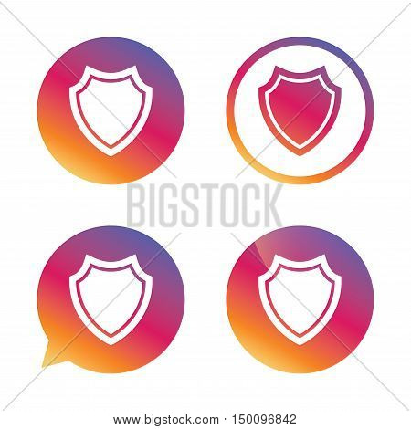 Shield sign icon. Protection symbol. Gradient buttons with flat icon. Speech bubble sign. Vector