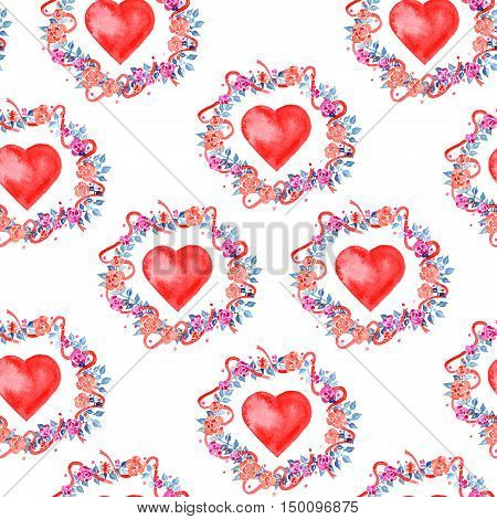 Watercolor seamless pattern for Valentine's day with flower wreath and heart
